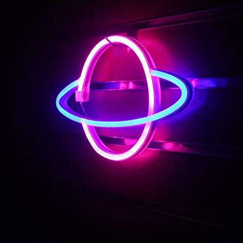 DEDC Planet Neonlicht, LED-Schilder, Wanddekoration, niedliche Wand-Nacht-Schilder, batterie- oder USB-betriebene Neonlichter Dekoration, 30 x 18 cm (Blau+Pink)