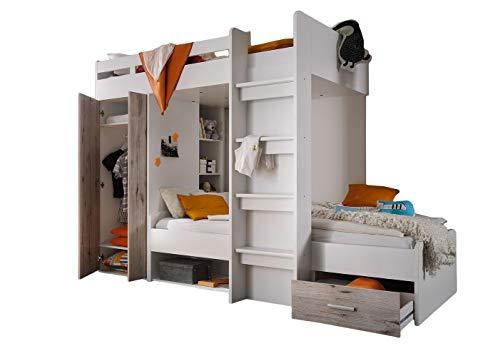 Jugendmöbel24.de Etagenbett Nils 90'200 inklusive Kleiderschrank + Schubkasten + Regale + Lattenrostplatte weiß/grau Hochbett Kinderzimmer Doppel Stockbett