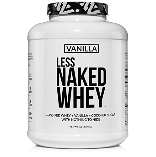 Less Naked Whey Vanilla Protein – All Natural Grass Fed Whey Protein Powder + Vanilla + Coconut Sugar- 5lb Bulk, GMO-Free, Soy Free, Gluten Free. Aid Muscle Recovery - 61 Servings