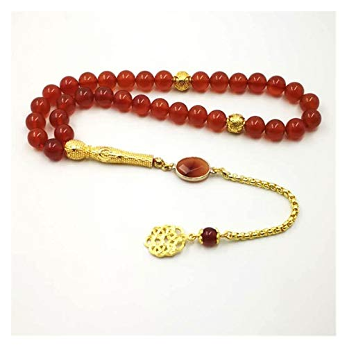 LWHAMA Natural Red Agates Women's tasbih Muslim Rosary Gift Islam misbaha Onxy Prayer Beads 33 66 99beads Stone Bracelets (Length : 12mm, Metal Color : 99 Beads)