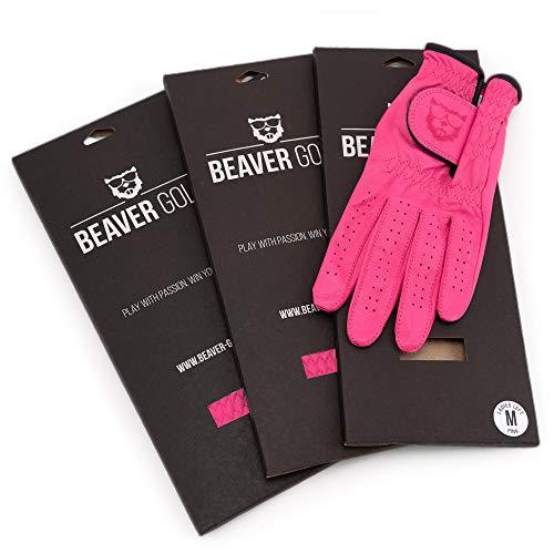 BEAVER GOLF 3X Damen Golf Handschuh PINK - Premium Cabretta-Leder - maximale Qualität - nachhaltig - Handarbeit (L, Links (Rechtshänder))