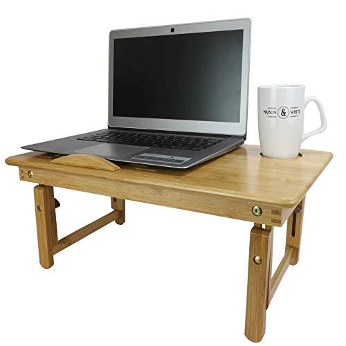 Soporte para portátil plegable de bambú | Escritorio de cama de madera | Mesa de cama | Bandeja para portátil Cama | Bandeja de desayuno | Tabla de vueltas para estudiar | Patas plegables | M&W