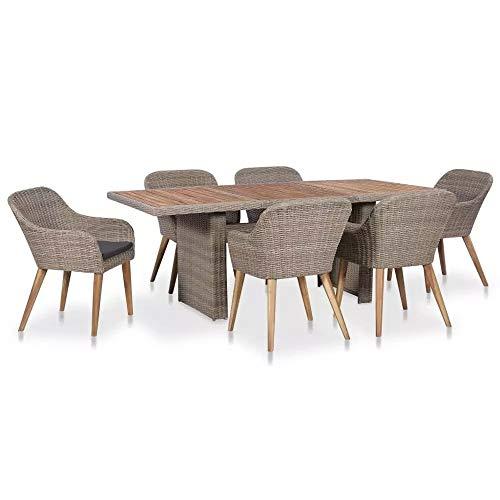 OZLXKNC Juego de Comedor al Aire Libre Simple de 7 Piezas con Silla Plegable, mesas de ratán marrón para jardín, Patio, balcón