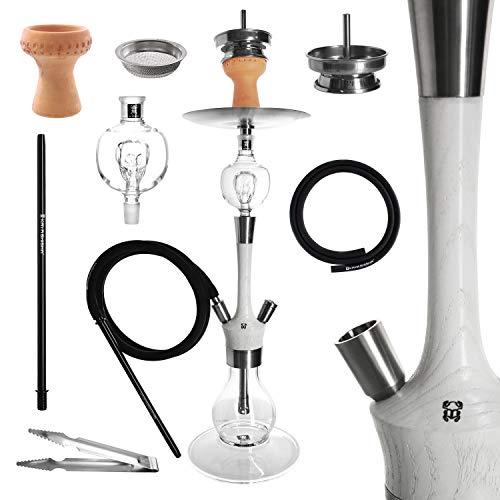Kaya Madera - Juego de cachimba (73 cm de alto, madera y acero inoxidable, pipa de agua, 2 conexiones, recolector de melaza, accesorios (color blanco)
