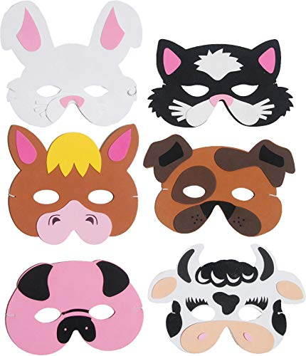 6 Farm Animal Foam Masks Fancy Dress Accessories Kids Nativity Party Bag
