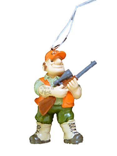 Trimmerry Born to Hunt Christmas Tree Ornament Hunter with Tattoo & Rifle