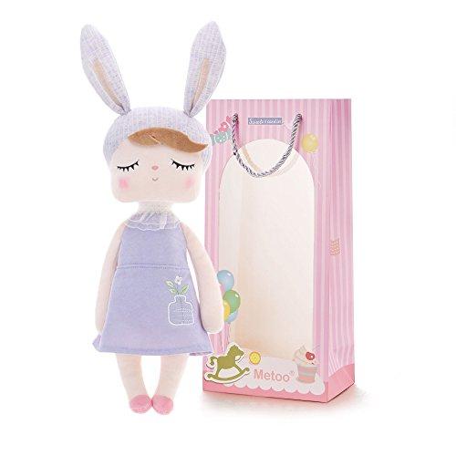 Metoo Gefüllte Hase Plüsch Kaninchen Puppen - Angela Baby Schlafen Puppen lila Kleid mit Geschenktüte (12 Zoll) - Mädchen Geschenke Spielzeug