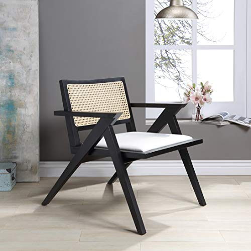 Safavieh Couture Home Collection Krystine Coastal Black Rattan Back Living Room Dining Accent Chair SFV4131A