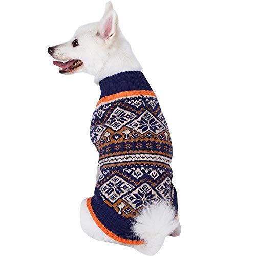 Blueberry Pet 10 Patterns Nordic Fair Isle Snowflake Interlock Dog Sweater and Matching Sweater