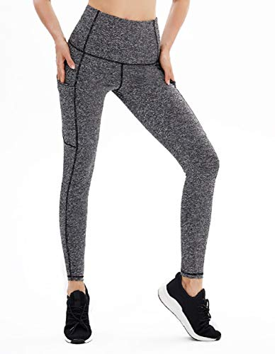 High Waist Yoga Pants, Pocket Yoga Pants Tummy Control Workout Running 4 Way Stretch Yoga Leggings (MattBlack, Large)