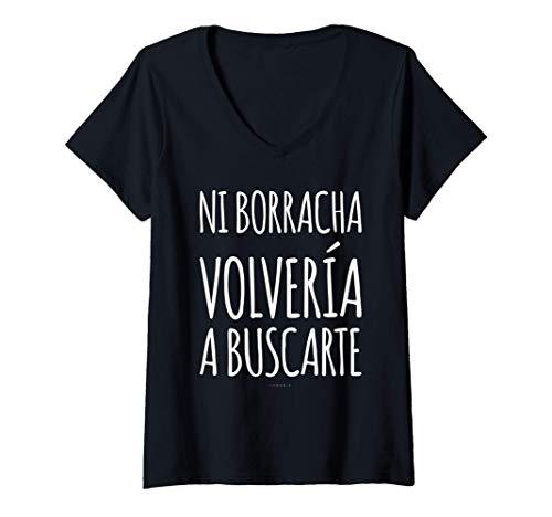 Mujer Camisetas Mujer Divertidas Manga Corta Ni Borracha Volvería Camiseta Cuello V