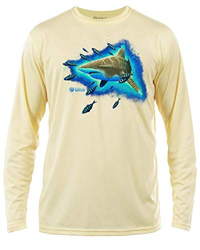 Shark Tauch-Shirt, UV-Schutzfaktor 50, langärmelig, Oceanic Whitetip - Gelb - 3X-Groß