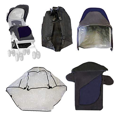 Excel Elise - Juego de accesorios de lujo para cochecito de bebé, cubrepiés, cesta, cubierta de lluvia, parasol para cochecito Excel Elise, color azul