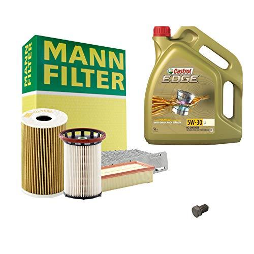 Inspektionspaket Set 6tlg- MANN-Kraftstofffilter + 5L Motoröl Castrol Edge 5W30 + Filterset Luftfilter + Innenraum-Filter + Ölfilter + Ölwanne Komplettset Hochwertiges Qualitäts-Wartungskit