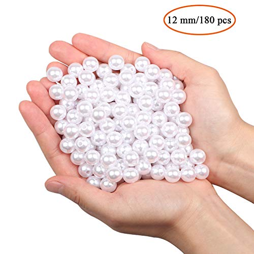 Vetro Perla Rotonde Perline per collane 180pz 12mm perline sfuse in plastica per riempitivi vaso/collane gioielli fai-da-te/Decorazione di nozze/festa di compleanno decorazione domestica (bianco 12mm)