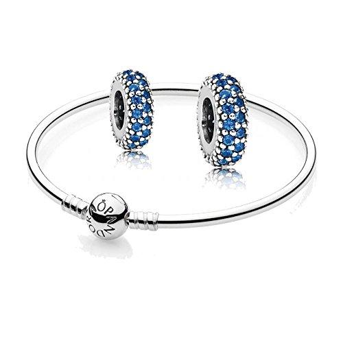 Original Pandora Geschenkset - 1 Silber Armreif 590713-17 und 2 Mal Silber Zwischenelement Pavé-Inspiration mit blauem Kristall 791359NCB