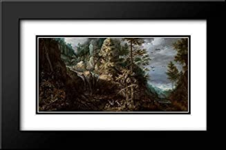 Landscape with The Temptation of Saint Anthony 24x16 Black Modern Frame and Double Matted Art Print by Savery, Roelandt