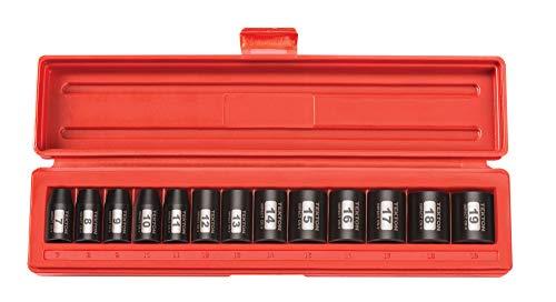 TEKTON 3/8 Inch Drive 6-Point Impact Socket Set, 13-Piece (7-19 mm) | 47915