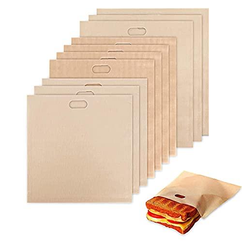 YXHZVON 10PCS Wiederverwendbar Toasterbeutel,Toasttaschen Sandwich,Antihaft Toasterbeutel-für Toast Pizzastücke Snacks Chicken Nuggets, Anzug für Mikrowelle Grill Toaster