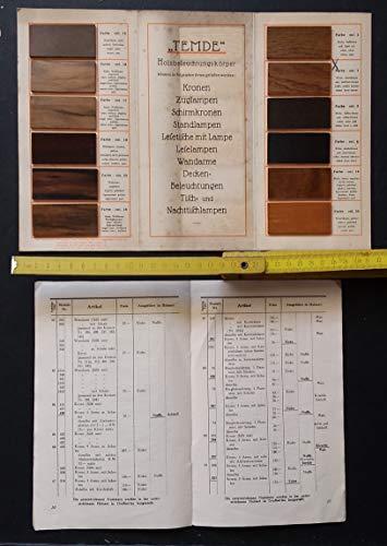 Holz - und Beiz-Farbenkatalog für Temde Beleuchtungskörper aus Holz