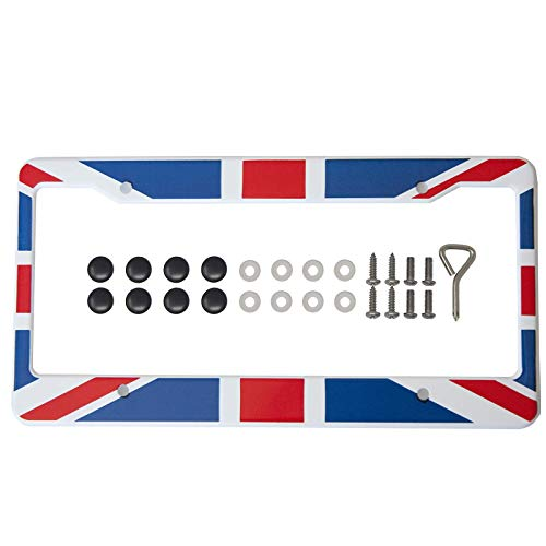 International Tie Flag-Themed License Plate Frame, High Grade 304 Stainless Steel (British)