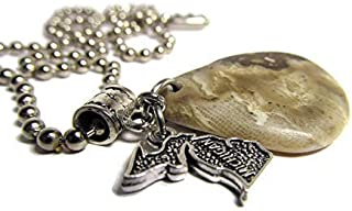 Petoskey Stone Unisex Necklace Stainless Steel Ball Chain Michigan Charm
