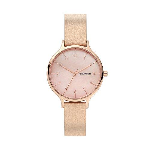 Skagen Damen Analog Quarz Smart Watch Armbanduhr mit Leder Armband SKW2704