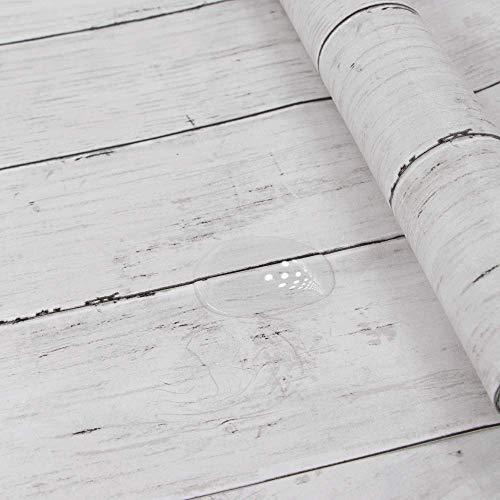Hode Selbstklebend Holz Folie Abnehmbare Dekorative Klebefolie für Möbel Wände Türen Fensterbank Dekorfolie Wasserdicht Aufkleber Weißes Holzoptik 45X300cm