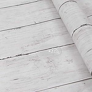 Hode Papel Adhesivo para Muebles Puerta Pared Cocina Papel Pintado Imitacion Decorativo Panel Madera Vintage Vinilos Decorativos Madera Blanco 45X300cm