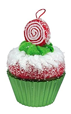Cupcake Ornament in green liner with red white and green frosting and a peppermint swirl
