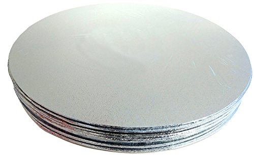 12 in Round Silver Cake Drum Board - Pebble Embossed Decorated Foil - Thin Sturdy Support (12)