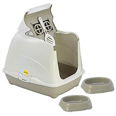 Grey Cat Litter Box + 2 Bowls 0.2L + Scoop - Hooded Tray