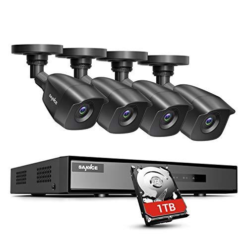 SANNCE Kit Videosorveglianza 1080P DVR 8 Canali TVI con 1TB Disco Rigido Installato 4 Telecamera Esterno 1080P Kit di Sorveglianza Porta HDMI Motion Detection P2P Cloud Visione Notturna-1TB HDD