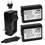 Wasabi Power NP-FW50 Battery (2-Pack) and Charger for Sony Alpha a5100,...
