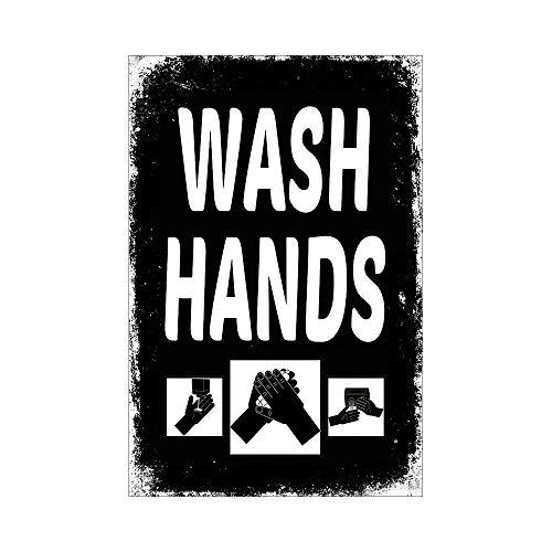 WASH HANDS Retro-Schild, rechteckig, MERAL-Schild, schwarz, Wanddekoration, Aufkleber, Zitat, Warnung, um Menschen daran zu erinnern, ihre Gesundheit zu schützen