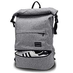 ITSHINY Laptop Backpack Men's travel backpack men, roll top sports backpack with shoe bag for ladies, daypack women, backpacks gray Men