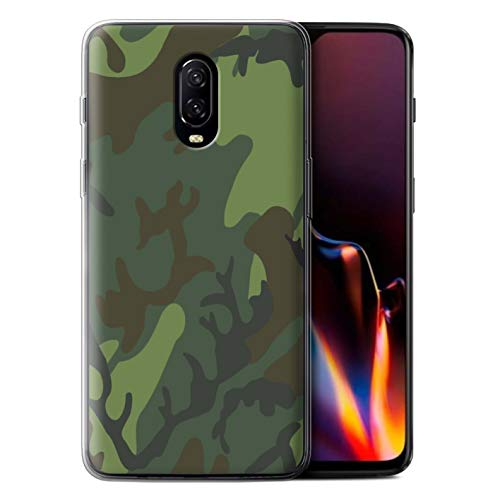 Phone Case for OnePlus 6T Military Camo Camouflage Tropical Retro ERDL Design Transparent Clear Ultra Soft Flexi Silicone Gel/TPU Bumper Cover