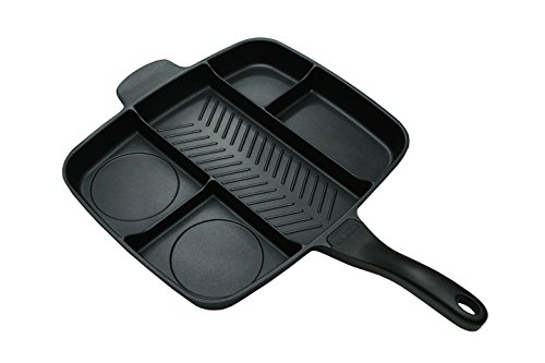 Master Pan Non-Stick Divided Grill/Fry/Oven Meal Skillet, 15', Black