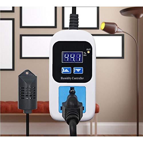 Digitaler Luftfeuchtigkeitsregler für Haustiere, Reptilien, Aquarium, Klimaanlagen, Luftentfeuchter, Luftbefeuchter, Badezimmerventilatoren (00%~99% RH), 110–220 V (US-Stecker, mit UK-Adapter)
