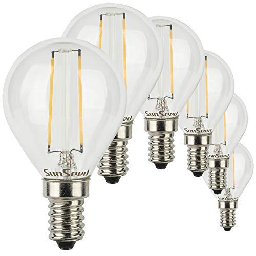 SunSeed® 6x Glühfaden LED Golfball-Lampe E14 2W ersetzt 25W Warmweiß 2700K