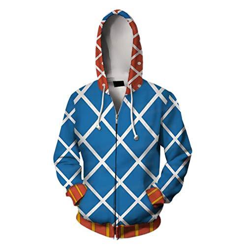 Sunkee JoJo's Bizarre Adventure Cosplay Cool 3D Impreso Sudadera con Capucha Sudadera Cremallera Cárdigan Suéter Abrigo