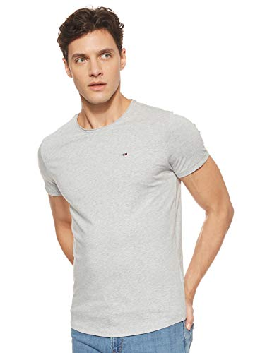 Tommy Jeans Herren Tjm Essential Jaspe Tee T shirt, Grau (Lt Grey Htr), Medium
