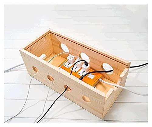 Beapet Caja de Madera de Almacenamiento de Cable, Caja de administración de Cables, Caja de Almacenamiento de Cables de alimentación Organizador de zócalo, 40 * 18 * 15 cm