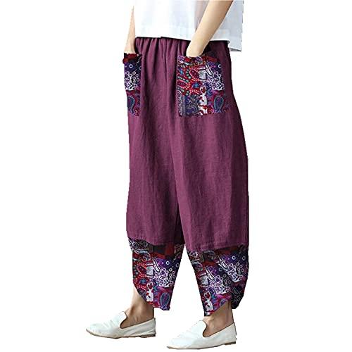 N /C Pantalones de pierna ancha para mujer, tallas grandes, pantalones Harem con estampado floral, cintura elástica y bolsillos