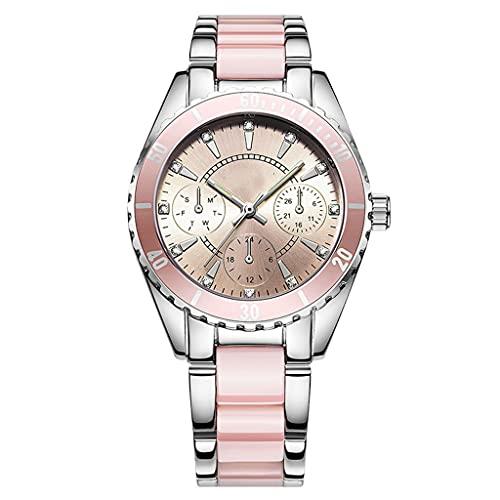 DSJMUY Reloj De Negocios para Mujer con Correa De Acero Inoxidable Y Calendario Elegante Reloj para Mujer-Reloj De Cuarzo Impermeable Ultrafino-Reloj Formal para Mujer Creativo