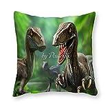 Viowr22iso Fundas de almohada impresionantes Velociraptor dinosaurio Raptor Kids FramHouse funda de cojín decorativa para decoración del hogar 45,7 x 45,7 cm