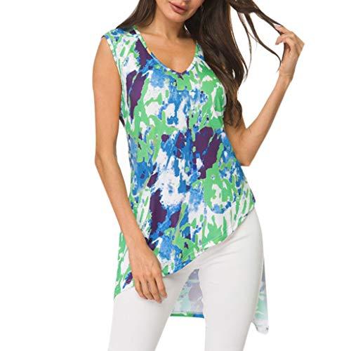 IMJONO Bluse Kurzarm Damen 2019 Ärmellose farbige Inkjet-Bluse mit V-Ausschnitt und unregelmäßigem Saum(X-Large,Blau)