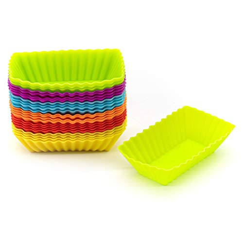 AUEAR, Silicone Mini Reusable Muffin Baking Cup Small Cupcake Holders Random Color Silicone Cupcake Liners Pastry Dessert Cups (24 Pcs, Rectangle Cups)