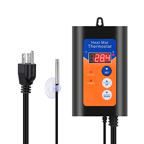 PETLOFT Termostato Digital Heat Mat Termostato Controlador, 100 a 100 °F Termostato Digital Almohadilla Termostato Termostato para...