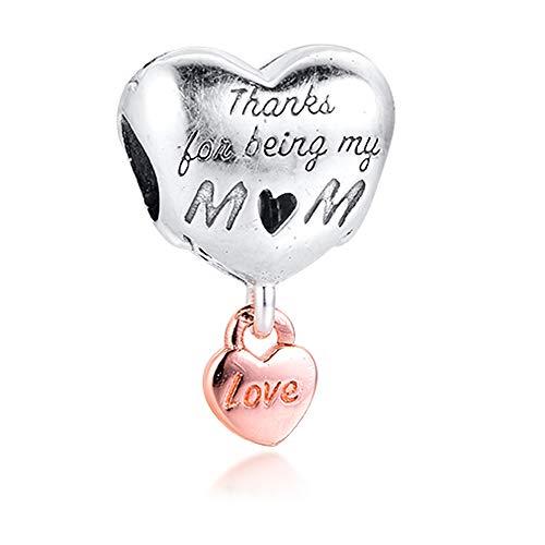 PANDOCCI 2020 Regalo para el Día de la Madre Gracias por ser mi mamá colgante de corazón de plata 925 DIY se adapta a pulseras originales Pandora